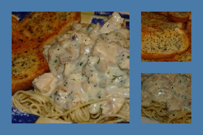 2013-08-22 Easy Chicken Stroganoff and Garlic Toast