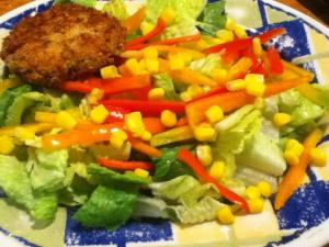 sweet pepper corn salad with coconut crusted chicken patty