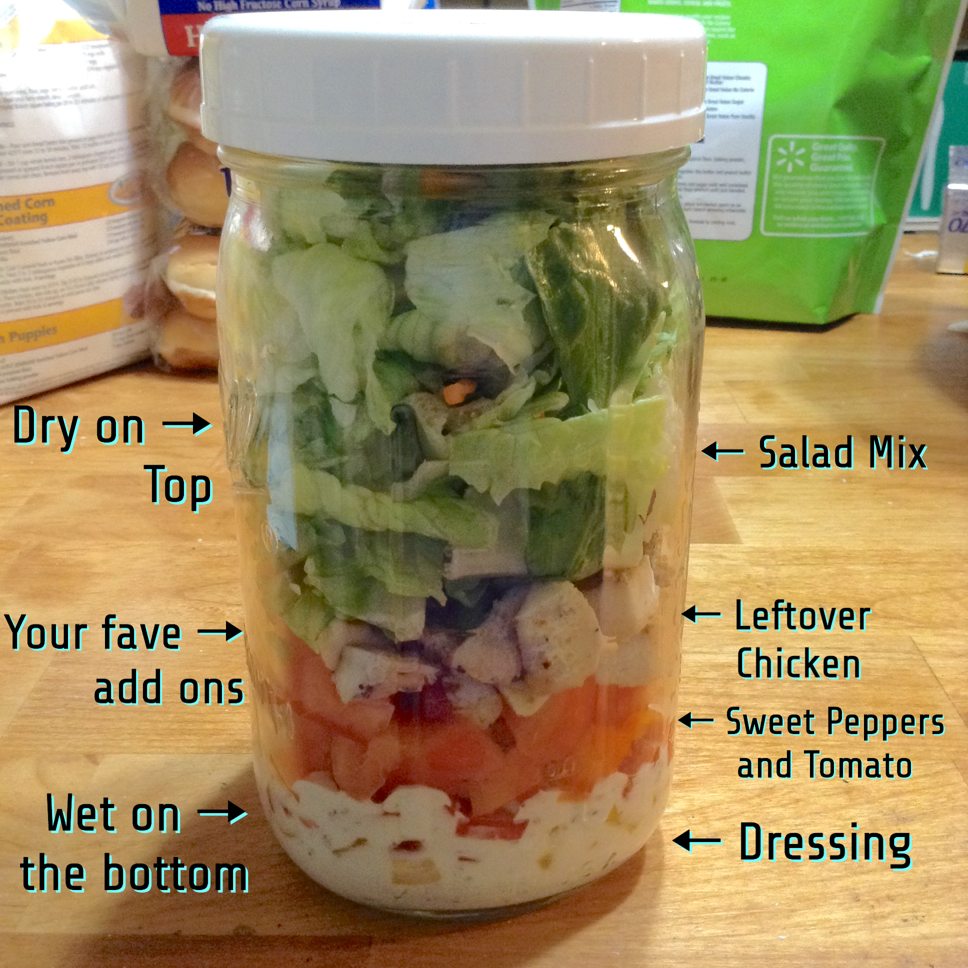 how to eat salad in a jar